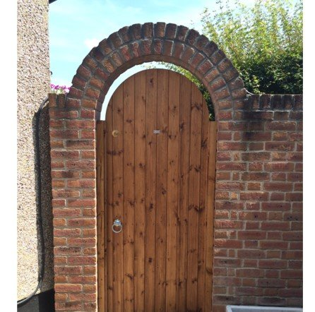 Halsted side gate in arch tarmec and croft fencing and gates 0`1787 224848