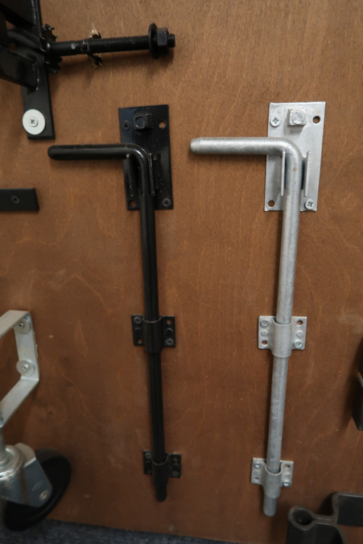 drop bolts - black and galvanised - tarmec and croft fencing and gates ltd 01787 224848