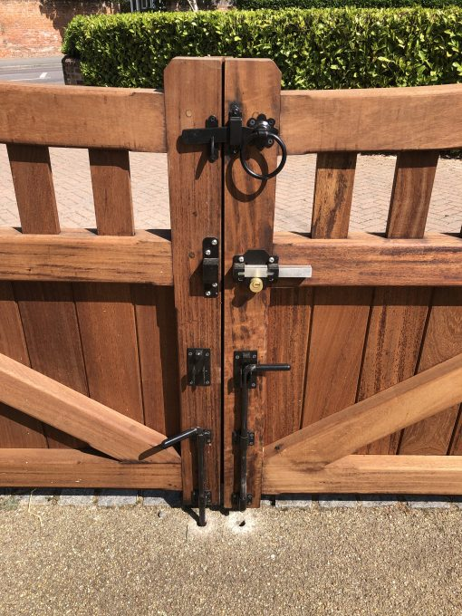 iron work on gate incl drop bolt, cays lock and ring latch black - tarmec and croft fencing and gates ltd 01797 224848 - Copy