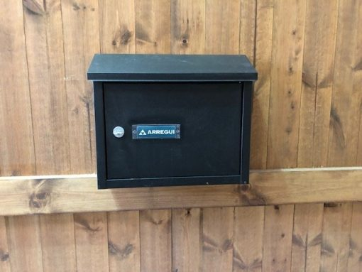 letter box built into gate - tarmec and croft fenicng and gates 01787 224848