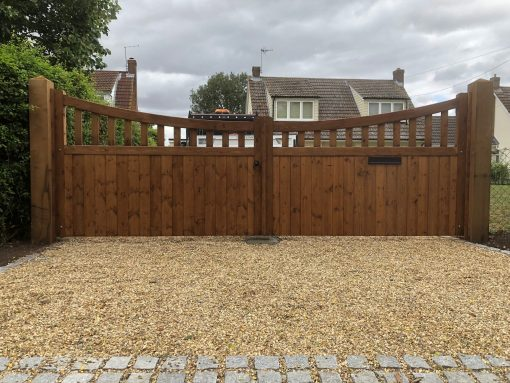 slatted bow top driveway gates - tarmec and croft fencign and gates 01787 224848