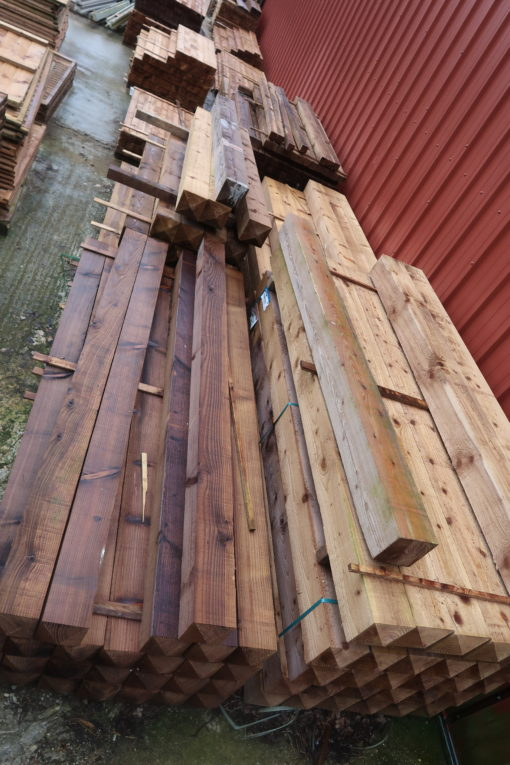 pointed top posts timber softwood - earls colne fencing materials supplier yard pic - tarmec and croft fencing and gates ltd 01787 224848