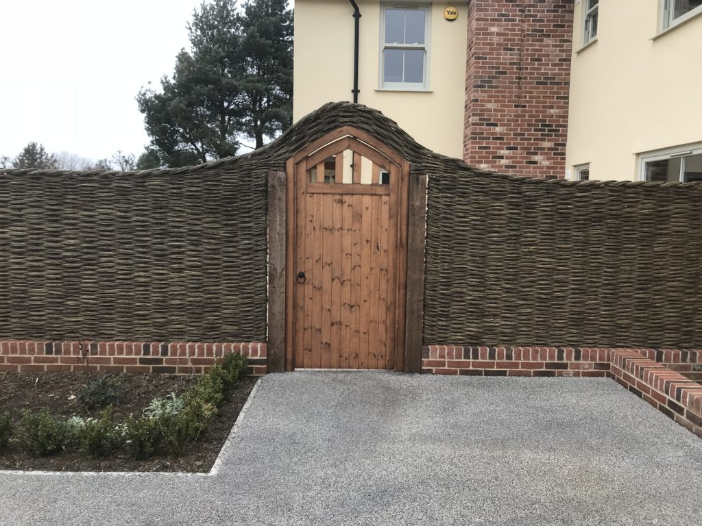 Bespoke side gate with willow fencing Tarmec and Croft 01787 224848