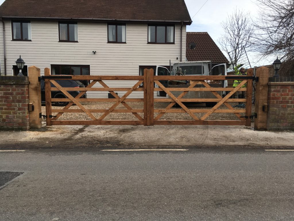Pair of 5 Bar Gates solid bottom rail automated Tarmec and Croft fencing and gates 01787 24848