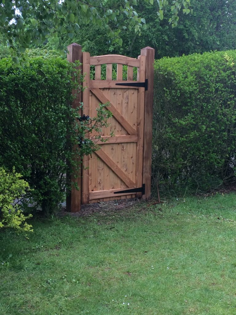 Rear of Colne Valley Made to Measure Side Gate Tarmec and croft fencing and gates 01787 224848