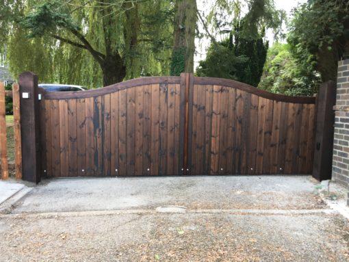 Bow Top Wooden Driveway Gates sliding automation Tarmec and Croft