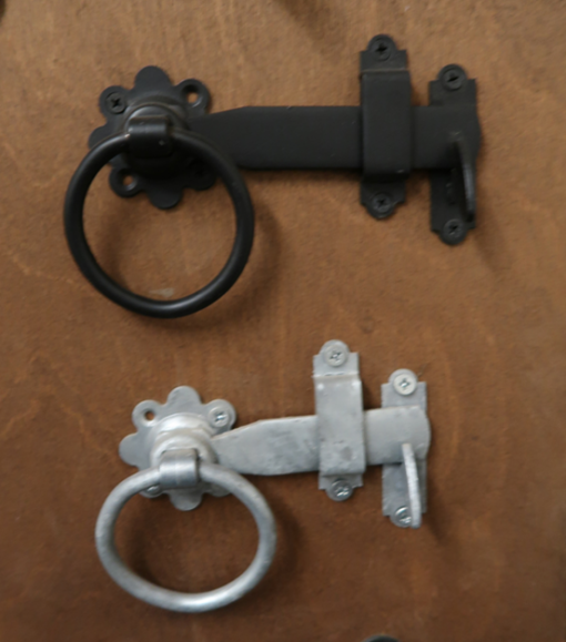 Ring latch big and small black and gavlanised - tarmec and croft fencing and gates 01787 224848
