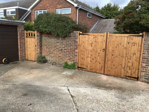 Straight Top Softwood Gates Opening Outwards - Tarmec and Croft