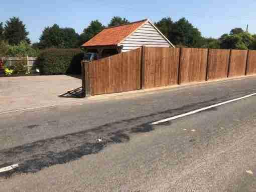 Sloped Close board panels - tarmec and croft fencing and gates ltd 01787 224848