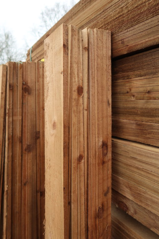 featheredge fencing materials - side view upright stacked - tarmec and croft fencing and gates ltd 01787 224848