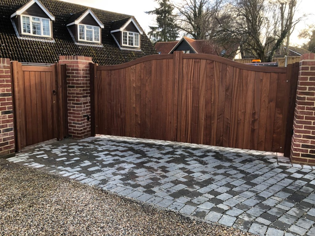 Hardwood Bow Top Automated Gates Essex Tarmec and Croft Fencing and Gates Ltd