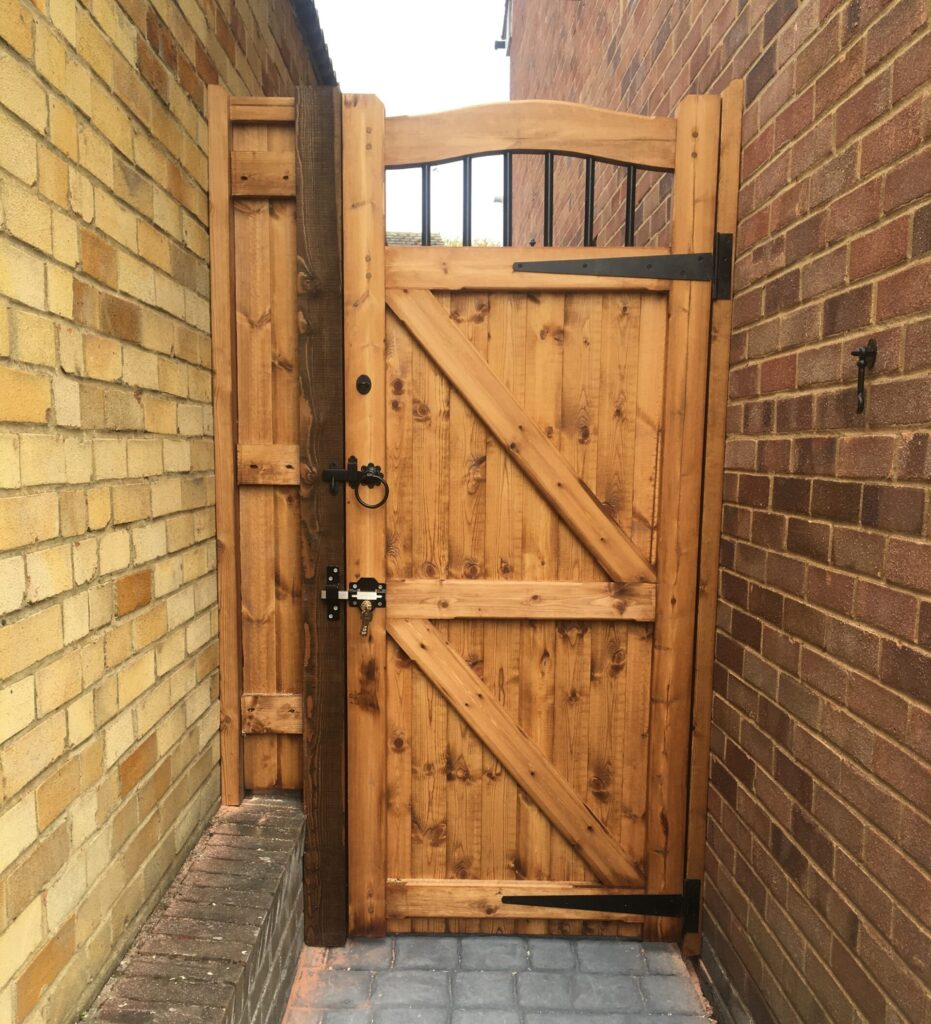 Dedham Side Gate in softwood with infill Tarmec and Croft fencing and Gates 01787 224848